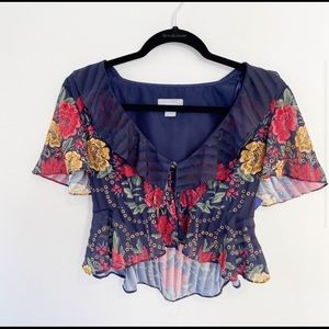 Finders Keepers Arcadia Navy Floral Cropped Blouse